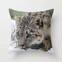 snow leopard Throw Pillows featuring Snow Leopard by PICSL8