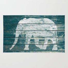 Elephant Silhouette on Blue Wood A215B Rug