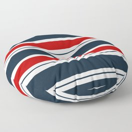Red, White, and Blue Horizontal Striped Floor Pillow