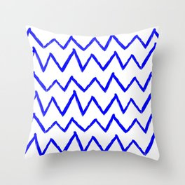 Hand-Drawn Zig Zag (Blue & White Pattern) Throw Pillow