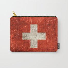 Vintage Aged and Scratched Swiss Flag Carry-All Pouch