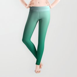 Ombre Teal Green Gradient Pattern Leggings
