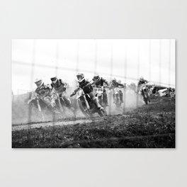 Motocross black white Canvas Print