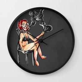 Grungy Alternative Smoking Lady Wall Clock