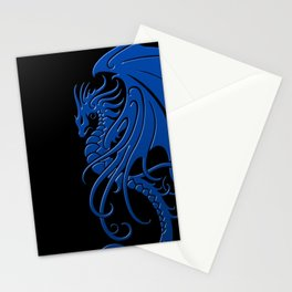 Flying Blue and Black Tribal Dragon Stationery Cards