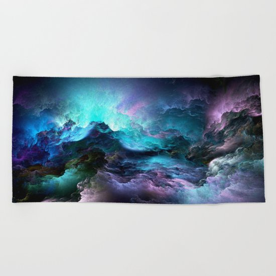 colorful clouds Beach Towel
