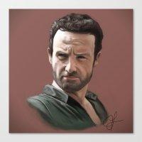 rick grimes Canvas Prints featuring Rick Grimes by jlamelas89