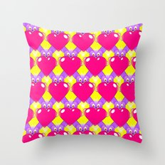Hot Pink Hearts and Teddy Bears Throw Pillow
