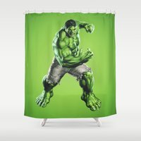 hulk Shower Curtains featuring HULK by Hands in the Sky