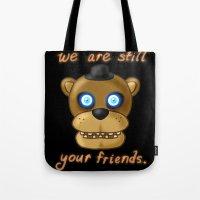 fnaf Tote Bags featuring FNAF Freddy Fazbear by Bloo McDoodle