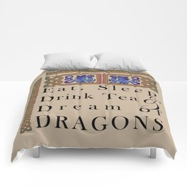 Eat, Sleep, Tea & Dragons Comforters