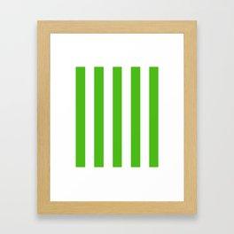 Kelly green - solid color - white vertical lines pattern Framed Art Print