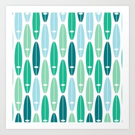 Vintage Surf Boards in Turquoise, Teal and Blue Art Print