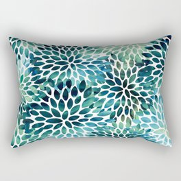 Floral Watercolor, Navy, Blue Teal, Abstract Watercolor Rectangular Pillow