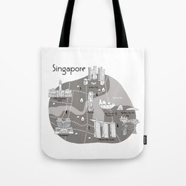Mapping Singapore - Grey Tote Bag