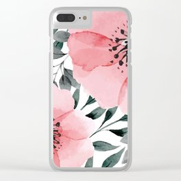 Big Watercolor Flowers Clear iPhone Case