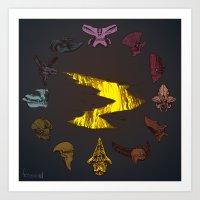pacific rim Art Prints featuring Pacific Rim Kaiju Clock by feriowind