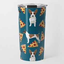 Rat Terrier pizza dog breed pet portrait dog pattern dog breeds gifts for dog lovers Travel Mug