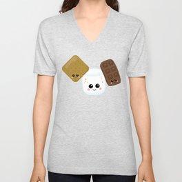 Kawaii Graham Cracker Kawaii Marshmallow Kawaii Chocolate Kawaii Smores Unisex V-Neck