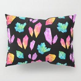 Watercolor Crystals // Black Pillow Sham