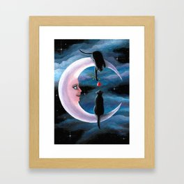 Black Cats on the moon Framed Art Print