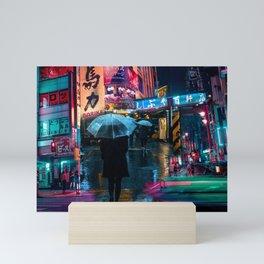 Japan street night Mini Art Print