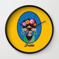 frida Wall Clocks featuring Frida by Juliana Motzko