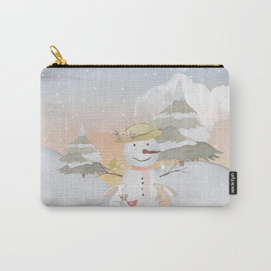 Winter Wonderland- Snowman birds and bunnies - Watercolor illustration Carry-All Pouch