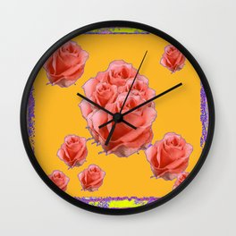 Peachy-Pink Tea Roses Orange-Lilac Art Wall Clock