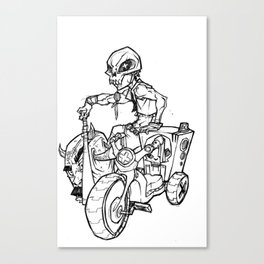 Skull Boy  on a Tricycle  Canvas Print