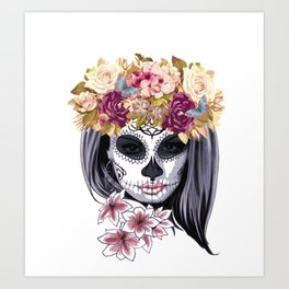 Flower Head Skull Art Print