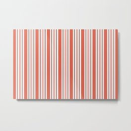 Pantone Living Coral Stripes Thick and Thin Vertical Lines Metal Print