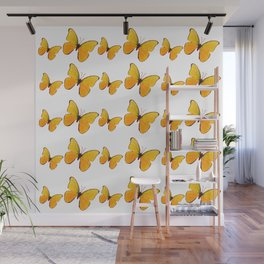 DECORATIVE WHITE  ART OF YELLOW BUTTERFLIES Wall Mural