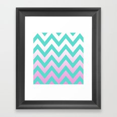 TEAL CHEVRON PINK FADE Framed Art Print