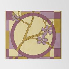 Lilac modern art nouveau flowers Throw Blanket