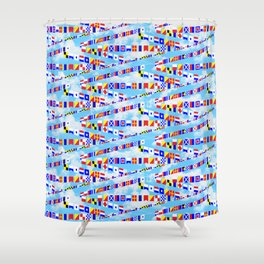 Maritime Signal Flags Pattern with Sailor Sayings Shower Curtain