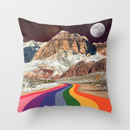 Trippy 1960s Stars and Moon Retro Red Rock Canyon Collage Milky Way Galaxy Colors Throw Pillow