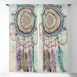 Modern tribal hand paint dreamcatcher mandala design Blackout Curtain