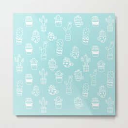 White and Turquoise blue cactus pot pattern Metal Print