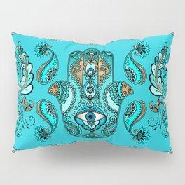 Hamsa Hand -Hand of Fatima  Blues and Gold Pillow Sham