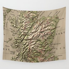 Vintage Physical Map of Scotland (1880) Wall Tapestry
