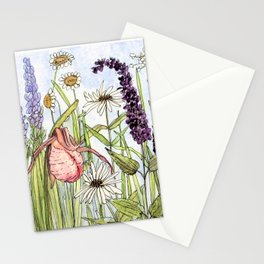 Lady Slipper Orchid Woodland Wildflower Watercolor Stationery Cards