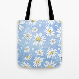 Spring Daisies On Sky Blue Watercolour Tote Bag