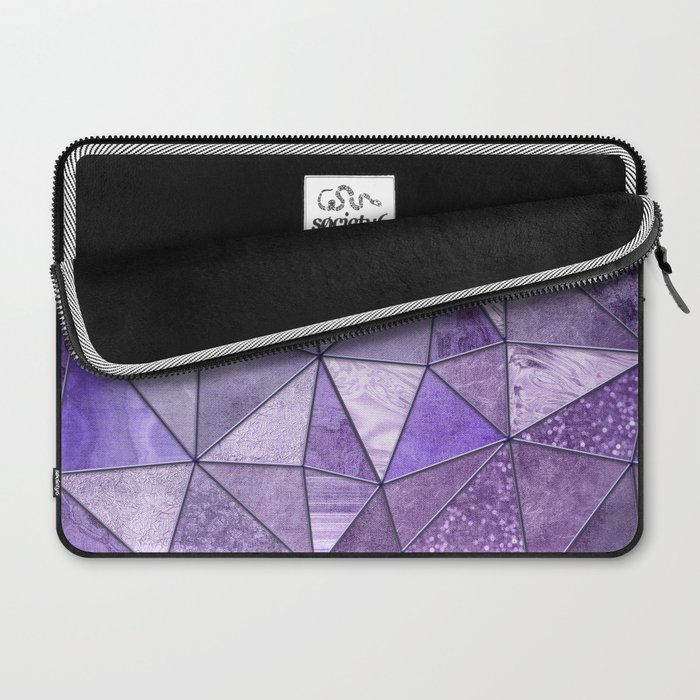 Purple Lilac Glamour Shiny Shimmering Patchwork Laptop Sleeve