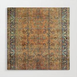 Kashan Floral Persian Carpet Print Wood Wall Art