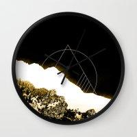 snowboarding Wall Clocks featuring Golden Mountain by Schwebewesen • Romina Lutz