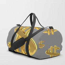 GOLDEN MONEY DOLLARS & CHARCOAL GREY  PATTERN MODERN ART Duffle Bag