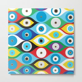 Colorful Evil Eye protection pattern Metal Print