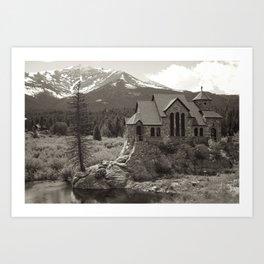 Mountain Town Church Art Print