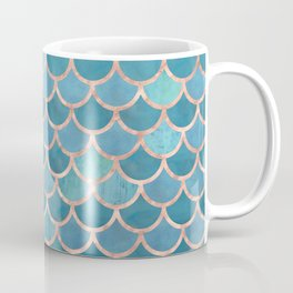 Mermaid Scales in Teal and Rose Gold Coffee Mug